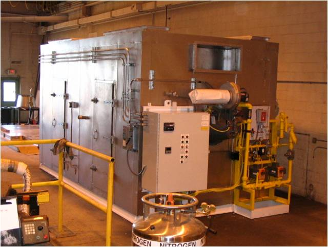 heaterbox with gas train and controls for industrial oven, installed in penthouse